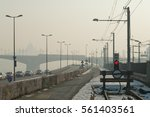 Small photo of Smog settled over Budapest on 21 January, 2017 in Budapest, Hungary. Cold weather, anticyclone favours air pollutants to accumulate and form a dense layer named smog over the city