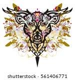 grunge deer head. decorative...