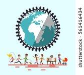 people around globe. retro flat ... | Shutterstock .eps vector #561416434