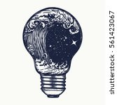 storm in a light bulb tattoo.... | Shutterstock .eps vector #561423067