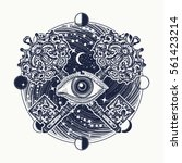all seeing eye tattoo occult... | Shutterstock .eps vector #561423214