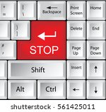 computer keyboard with stop  ... | Shutterstock .eps vector #561425011