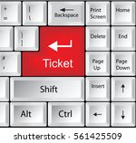 computer keyboard with ticket   ... | Shutterstock .eps vector #561425509