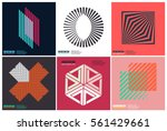 Simplicity Geometric Design Set Clean Lines and Forms In Pink color | Shutterstock vector #561429661