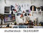 fashion designer sketch drawing ...   Shutterstock . vector #561431809