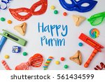 jewish holiday purim concept... | Shutterstock . vector #561434599