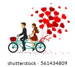 romantic couple man and woman... | Shutterstock .eps vector #561434809