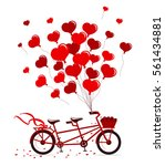 tandem bike with hearts...   Shutterstock .eps vector #561434881