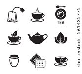 Tea Icons Set. Black On A Whit...