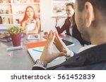 man s hands show thinking...   Shutterstock . vector #561452839