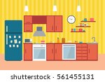 kitchen interior with furniture ... | Shutterstock .eps vector #561455131