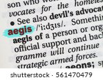Small photo of Closeup of English dictionary page with word aegis