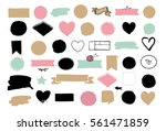Set of hand drawn shapes - hearts, ribbons, banners and circles, Vector design elements | Shutterstock vector #561471859