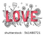 coloring page word love pink... | Shutterstock .eps vector #561480721