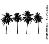 Set Of Silhouette Coconut Tree...