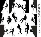 rock climbers silhouette... | Shutterstock .eps vector #561483724