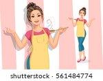 beautiful women in cooking... | Shutterstock .eps vector #561484774