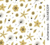 seamless pattern with flowers.... | Shutterstock .eps vector #561485209