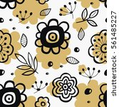 seamless pattern with flowers.... | Shutterstock .eps vector #561485227