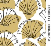 seamless pattern with seashells.... | Shutterstock .eps vector #561485389