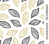 seamless pattern with foliage.... | Shutterstock .eps vector #561486664