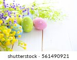 close up of colorful easter...   Shutterstock . vector #561490921