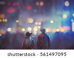 back view of couple in love... | Shutterstock . vector #561497095