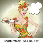 pin up sexy woman with food... | Shutterstock .eps vector #561503449