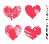 set of hand paint vector hearts ...   Shutterstock .eps vector #561503674