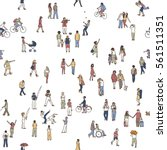seamless pattern of tiny people ... | Shutterstock .eps vector #561511351