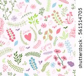 set of doodle spring flowers.... | Shutterstock .eps vector #561514705
