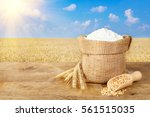 ears of wheat and flour in bag... | Shutterstock . vector #561515035