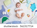 baby on white background with... | Shutterstock . vector #561517714