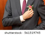 man in a gray suit corrects... | Shutterstock . vector #561519745