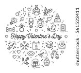 valentine icons line thin style ... | Shutterstock .eps vector #561523411