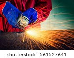 worker cutting metal with...   Shutterstock . vector #561527641