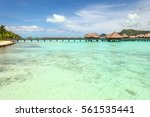 over water bungalows into... | Shutterstock . vector #561535441