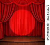 stage with red curtain  wooden... | Shutterstock . vector #561536671