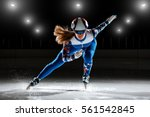 short track. athlete on ice | Shutterstock . vector #561542845