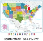 usa political map and flat map... | Shutterstock .eps vector #561547399