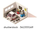 vector isometric low poly car... | Shutterstock .eps vector #561555169