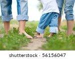happy family on a walk in...   Shutterstock . vector #56156047