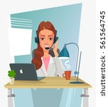 call center service. woman... | Shutterstock .eps vector #561564745