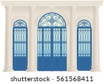 wrought iron gate.  | Shutterstock .eps vector #561568411