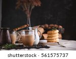 breakfast. coffee with cream... | Shutterstock . vector #561575737