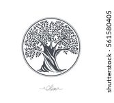 hand drawn olive tree. vector... | Shutterstock .eps vector #561580405