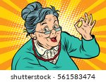 grandma okay gesture  the... | Shutterstock .eps vector #561583474