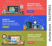 set banners for web. horizontal ... | Shutterstock .eps vector #561595831