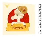 vector pretty cartoon aries...   Shutterstock .eps vector #561600469