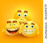 set of three yellow smiley... | Shutterstock .eps vector #561609379
